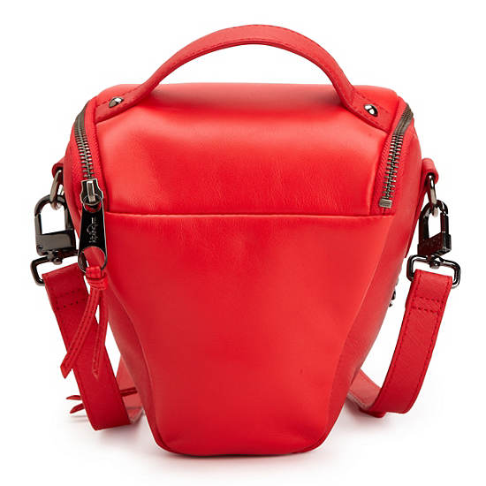 LEATHER CAMERA BAG,Raspberry Leather,large