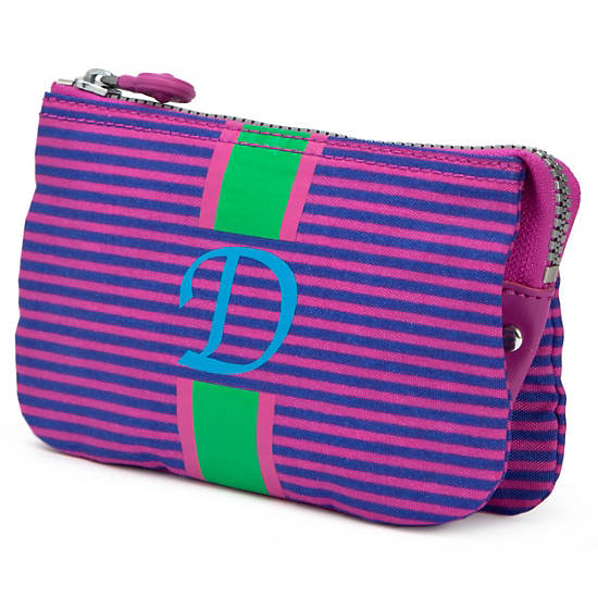 Creativity Large Pouch With Initial,Orchid Stripe,large
