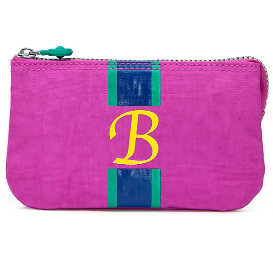 Creativity Large Pouch With Initial,Pink Orchid Multi,large