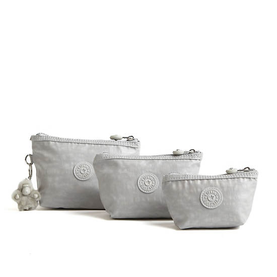 Chrissa Coated Pouch 3-Pack,Pearlized Ash Grey,large