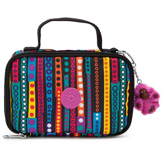 Mila Small Pencil Case,Circles and Stripes,large