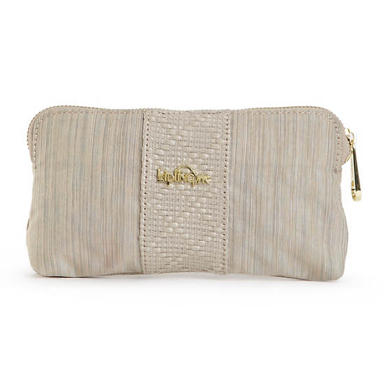 Keema Zip Clutch,Buttercream Dazzling Beige Combo,large