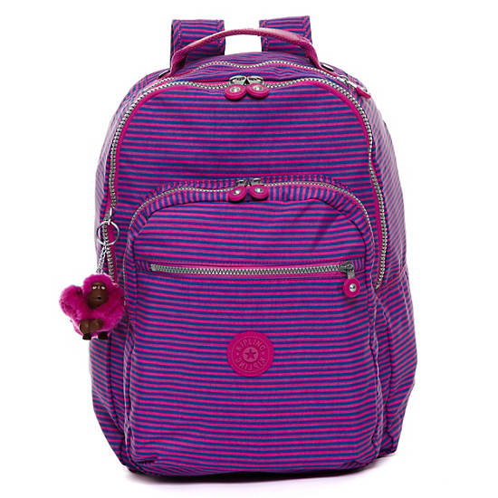 Seoul Large Printed Laptop Backpack,Orchid Stripe,large