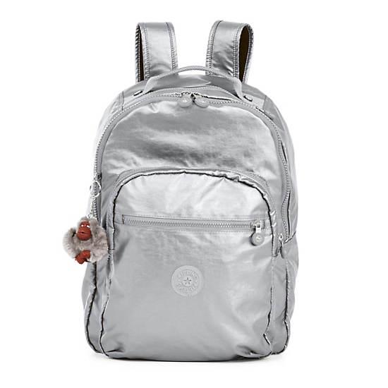 Seoul Large Metallic Laptop Backpack,Platinum Metallic,large