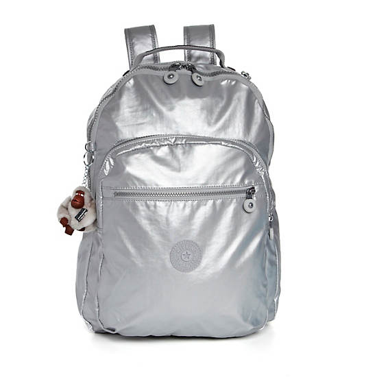 Seoul Large Metallic Laptop Backpack,Silver Metallic,large