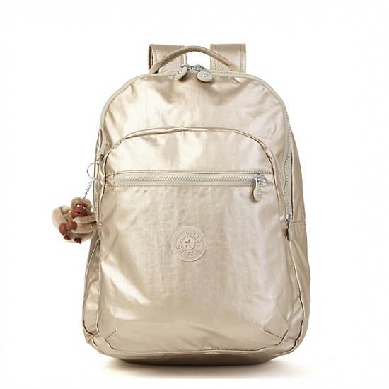 Seoul Large Metallic Laptop Backpack,Champagne Metallic,large