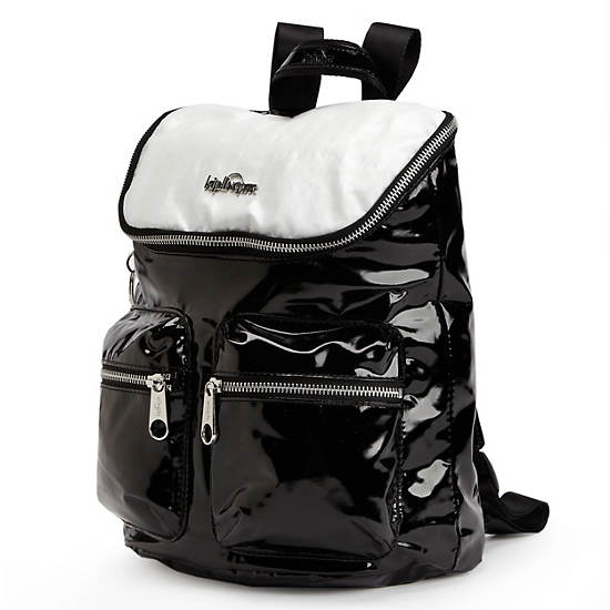 SHACKI PATENT BACKPACK,Black/White Combo,large