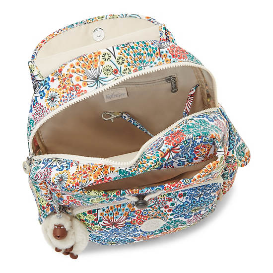 Ravier Medium Printed Backpack,Little Flower Blue,large