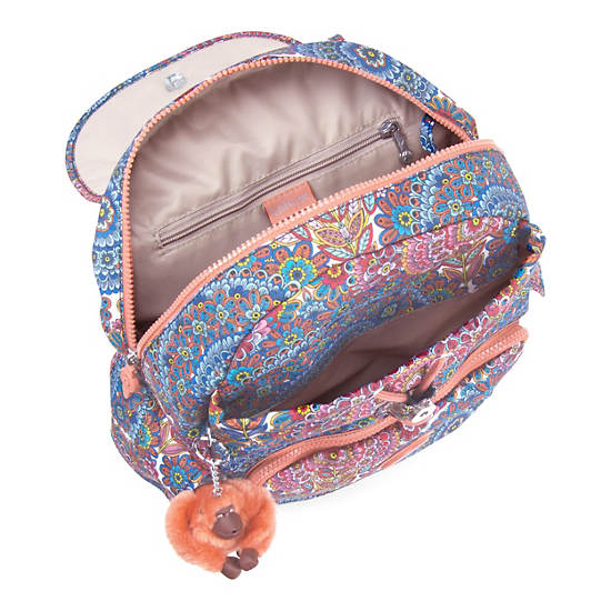 Ravier Medium Printed Backpack,Sunshine Happy,large