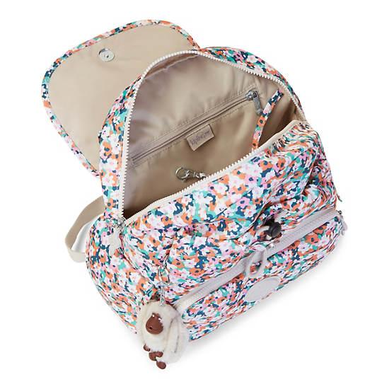 Ravier Medium Printed Backpack,Meadow Flower Pink,large