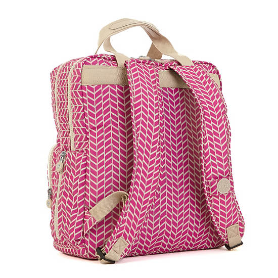 audrie printed backpack diaper bag chevron magenta print kipling. Black Bedroom Furniture Sets. Home Design Ideas