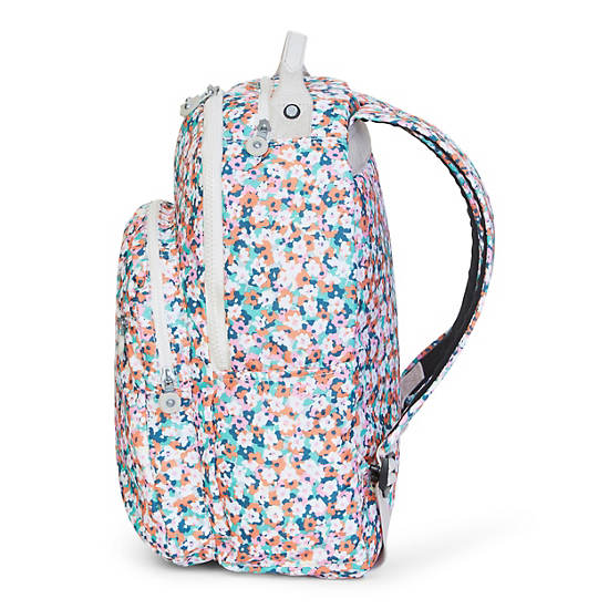 Seoul Large Printed Laptop Backpack,Meadow Flower Pink,large