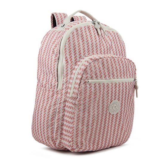 Seoul Large Printed Laptop Backpack,Zest Pink,large