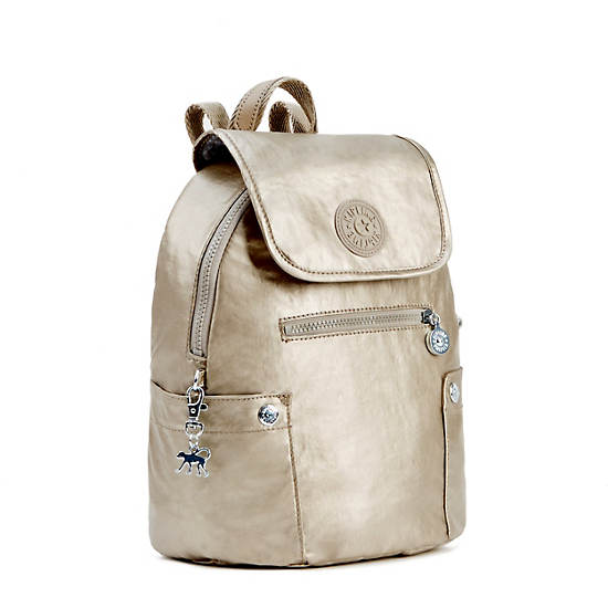 Abygail Small Metallic Backpack,Champagne Metallic,large