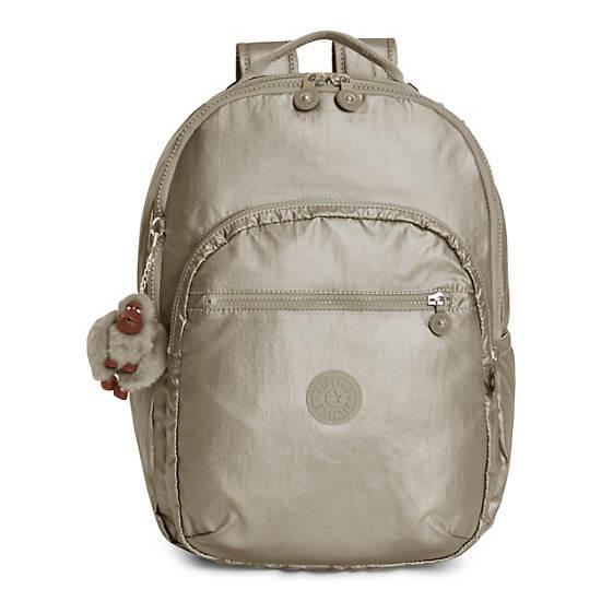 Seoul Large Metallic Laptop Backpack,Metallic Pewter,large