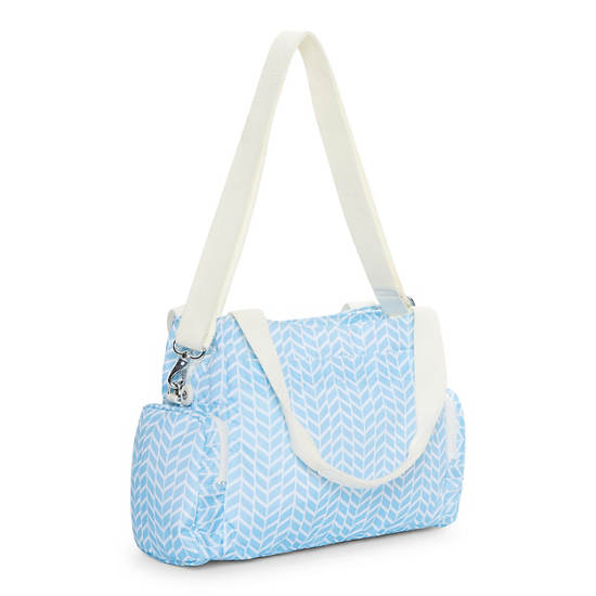 Felix Printed Handbag,Chevron Pool Blue,large