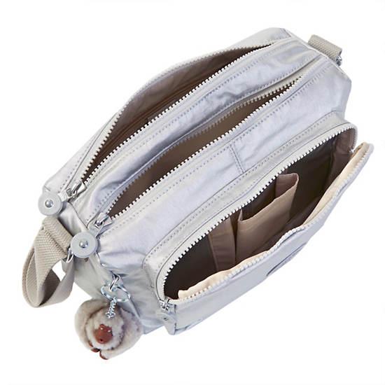 Reth Crossbody Bag,Platinum Metallic,large