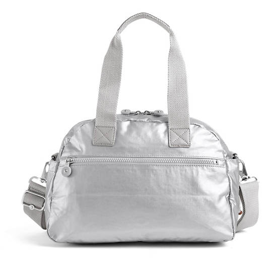 Defea Metallic Handbag,Platinum Metallic,large
