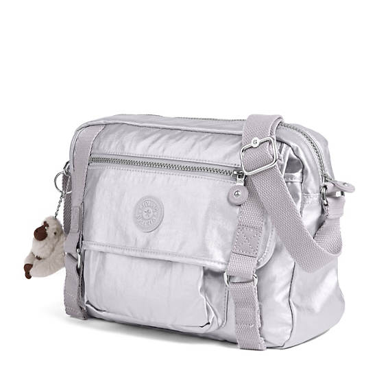 Gracy Crossbody Bag,Platinum Metallic,large