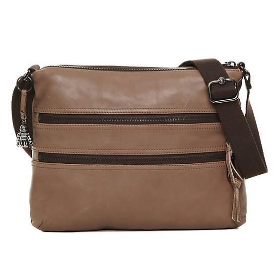 Alvar Leather Crossbody Bag,Mink Brown,large