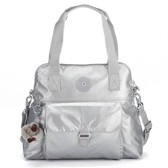 Pahneiro Metallic Handbag,Silver Metallic,large