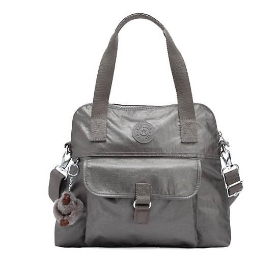 Pahneiro Metallic Handbag,Smoke Metallic,large
