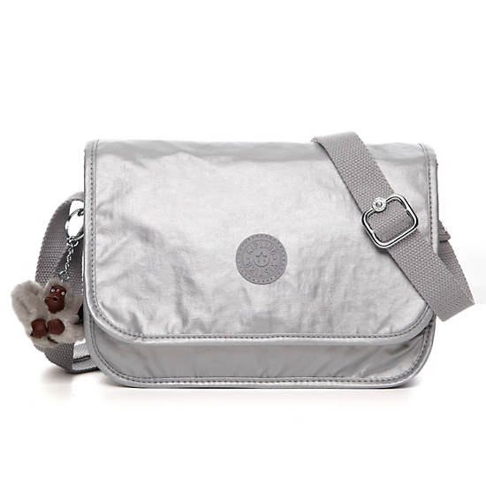 Louiza Metallic Crossbody Bag,Silver Metallic,large