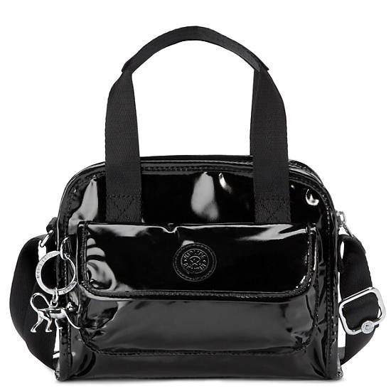 Defea Handbag,Black Patent,large