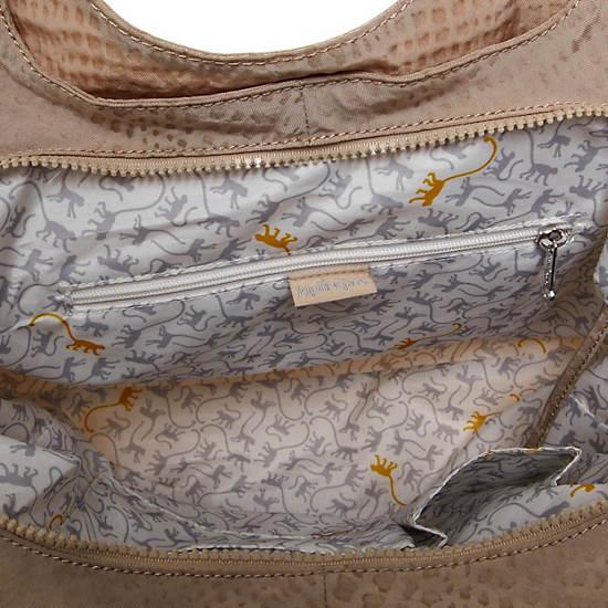 Bagsational Handbag,Metallic Pewter Croc,large
