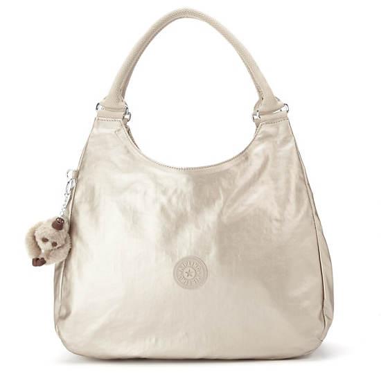 Bagsational Metallic Handbag,Silver Beige,large