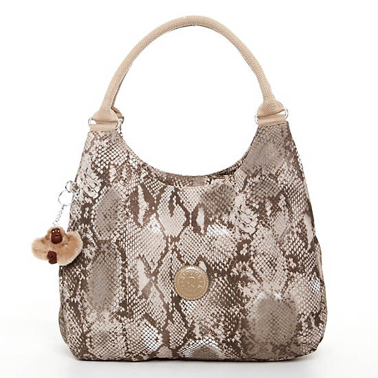 Bagsational Handbag,Beige Snake,large