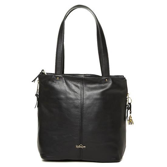 Hermine Leather Tote,Black,large