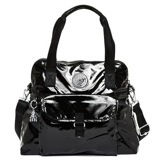 Pahneiro Patent Handbag,Black Patent,large