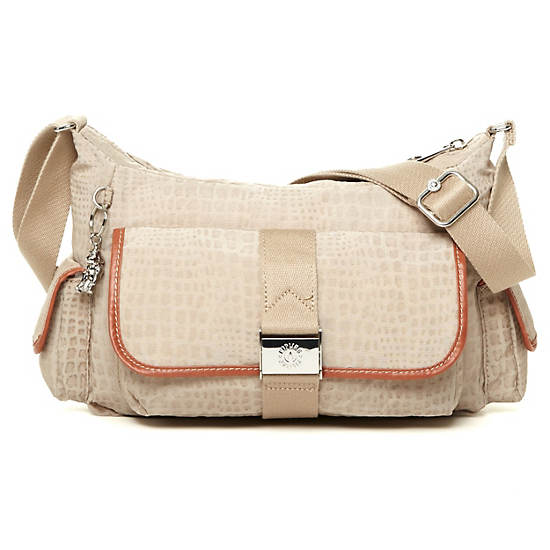 Priska Handbag,Metallic Pewter Croc,large