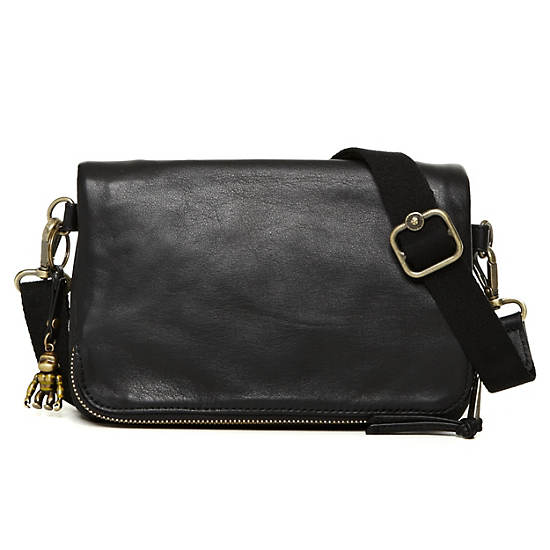 Verra Leather Crossbody Bag,Black,large