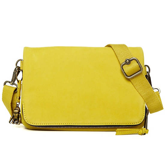 Verra Leather Crossbody Bag,Brilliant Yellow,large