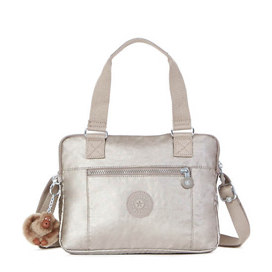 Brent Metallic Double Compartment Handbag,Metallic Pewter,large