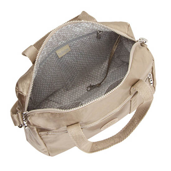 Darlena Metallic Handbag,Champagne Metallic,large