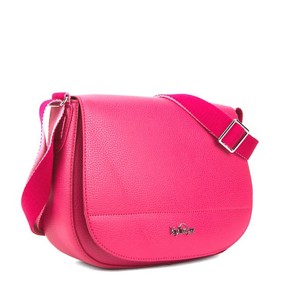 Louna Vegan Leather Saddle Bag,Spring Red,large