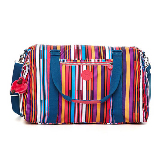 Itska Print Duffle Bag,Aubergine Stripe,large