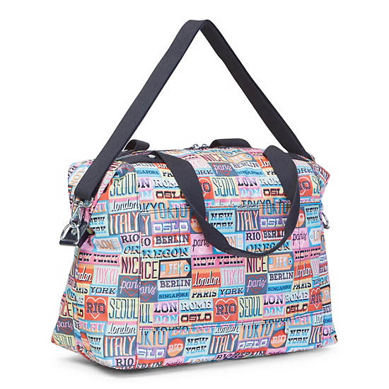Carton Printed Travel Tote,Hello Weekend,large