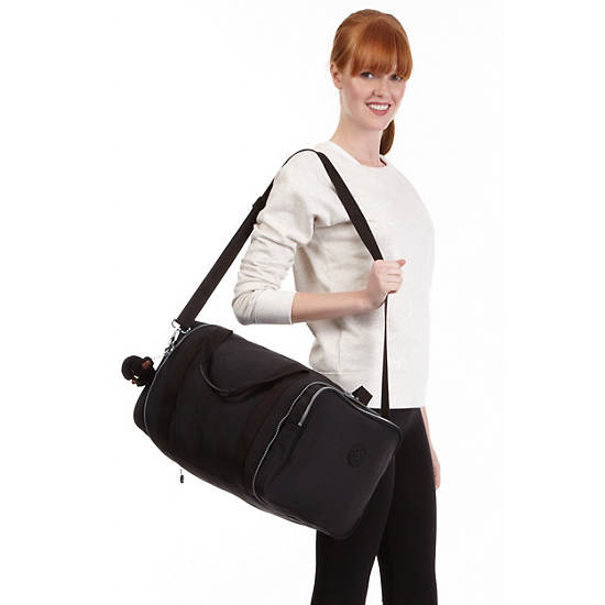 FLONA FOLDABLE DUFFLE BAG,Black,large