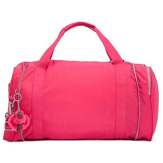 FLONA FOLDABLE DUFFLE BAG,Vibrant Pink,large