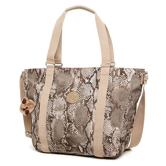 Adara Medium Tote,Beige Snake,large