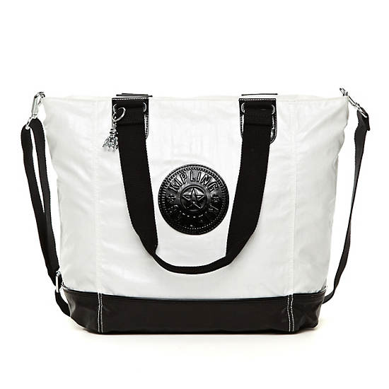 Shopper Combo Tote,Black Pearlized White Com,large