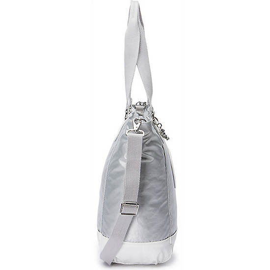 Shopper Combo Metallic Tote,Silver Metallic,large