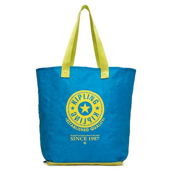 Hip Hurray Foldable Tote Bag,Blue Skies Metallic Combo,large