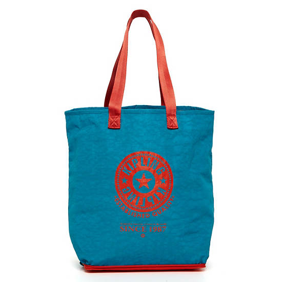 Hip Hurray Foldable Tote Bag,Turq Blue,large