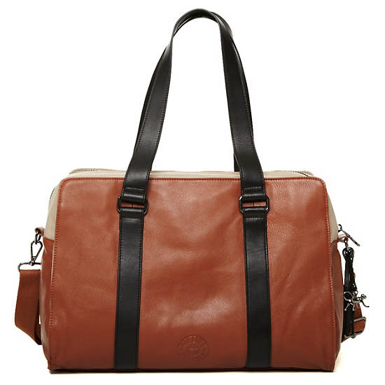 Helena Large Leather Tote,Helena Brown P,large