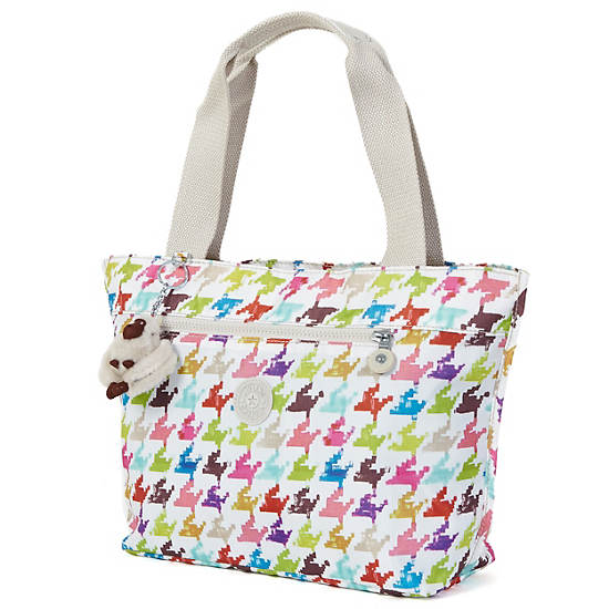 Jerimiah Printed Tote Bag,Houndstooth Multi,large